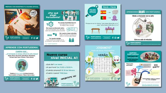 Diseño de cartelería para redes sociales de Academia Portudemia