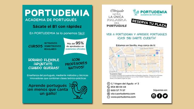 Diseño de flyers de Academia Portudemia