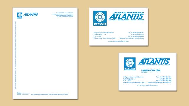 Diseño de papelería corporativa de Mudanzas Atlantis